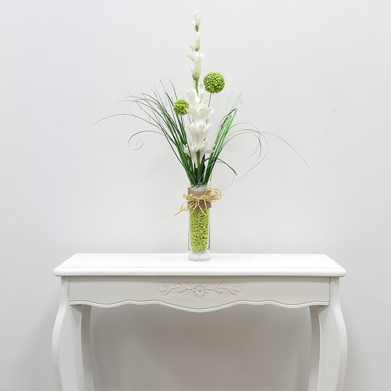 Jarr n cristal con nardo artificial florister a santa for Jarron cristal